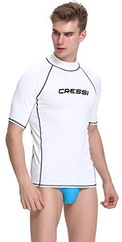 Cressi Herren T-shirt Rash Guard UV Sun Protection (UPF), Weiß, Gr. 52 (Herstellergröße:L/4)