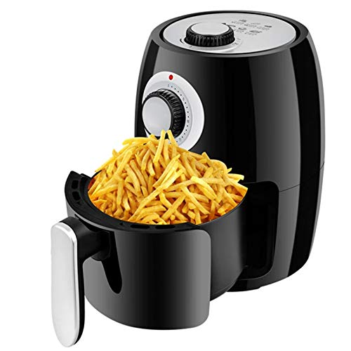 Air Fryer Oven for Home 2.5 L Small Capacity 1000W Electric Hot Air Fryers with Double Knob and Nonstick Pan Without Oil French Fries Machine with Bakeware Black