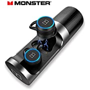 Monster Wireless Earbuds, Bluetooth 5.0 in-Ear Headphones with Charging Case, TWS Stereo Earphones Deep Bass Sound, IPX5 Waterproof, Built-in Mic, Clear Call, Secure Fit for Sports