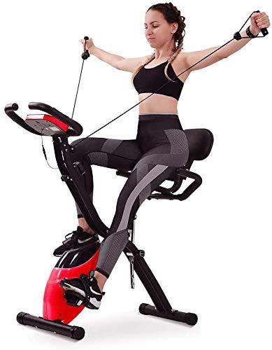 Cyclette da Casa Pieghevole con Schienale Magnetica Elastici Display LCD F-Bike Cardio HomeTrainer Bici Fitness Attrezzo Sportivo Allenamento Corpo Gym Esercizi Aerobici Rosso [EU Stock]