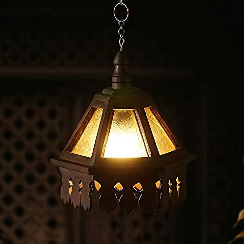 BOOHR Materiales marroquí árabe de Turquía del Este Bohemia Araña Tropical de la Selva Teca Hecha a Mano lámpara Colgante en Relieve Pantalla de Cristal Cuelgue suspensión por la Sala de Estar Inicio