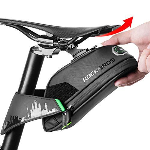 ROCKBROS Fahrrad Satteltasche Fahrradtasche für MTB Rennrad Wasserdicht Stoßfest Sitztasche Schwarz 1L/ 1,5L mit Rücklichthalter
