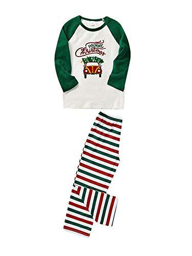 Conjunto de pijama de Navidad con estampado de coche, manga larga, parte superior a rayas, pantalón de Navidad, ropa de dormir, pijama de 130 niños