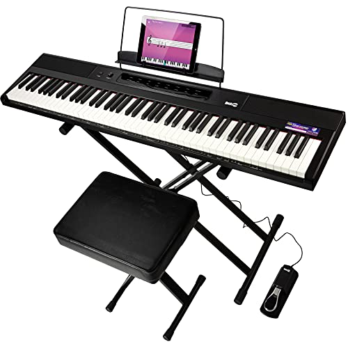 RockJam 88-Key Beginner Digital Piano with Full-Size Semi-Weighted Keys, Power Supply, Keyboard Stand, Keyboard Bench, Sustain Pedal, Simply Piano App Content & Key Note Stickers