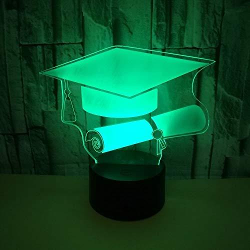 HHXZ Night light Cadeau de diplômé lumière 3D télécommande gradué cadeau 3D petite lampe de table