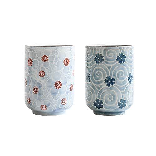 Tazas de te japonesas Taza taza de cerámica Flor tradicional japonesa bonito diseño Conjunto de 2 yunomi tazas de té 10 OZ