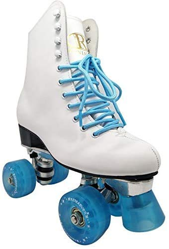 Profession Outdoor Roller Skates for Men/Girls,Adults Quad Roller Shoes,Unisex High-Top Artificial Leather Classic Double Line Skates,Suitable for Beginners Indoor and Outdoor (8,Ice Blue)