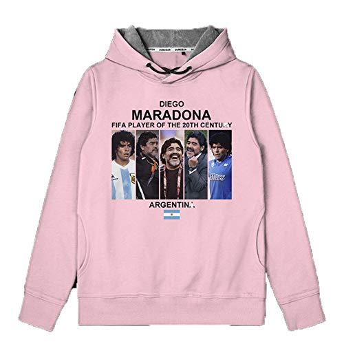 Sijux Hombres Argentina Equipo Sudaderas con Capucha Sudadera Gruesa Rip Diego Armando Maradona Fans Pullover Fútbol Personalizado Conmemorativo,Rosado,5XL