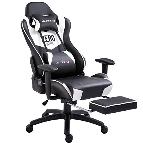 Alistar Gaming Chair Racing Office Chair High Back Computer Desk Chair PU Leather Chair Ergonomic and Executive Swivel Chair with Footrest Headrest and Lumbar Massage Support (AL-6018-WHITE) chair footrest gaming