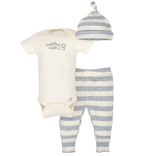Gerber Baby 3-Piece Organic Onesies Bodysuit, Pant and Cap, Gray/Ivory, 12 Months