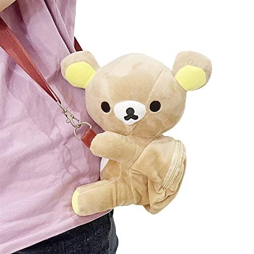 Mfacl Mochila de Peluche Bolsa de Peluche Juguetes de Peluche Mochila, Mochila Peluche Messenger Bag Anime Teddy Bear Juguete Muñeca para niñas Regalo (Size : 22x14CM)
