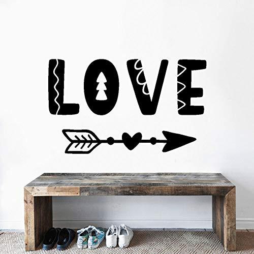 YuanMinglu Amor y Flecha Vector Vinilo Pared Arte Palabra Texto Pegatina Adecuado para el hogar Dormitorio y Tienda decoración 74x39cm