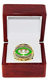 GREEN BAY PACKERS (Bart Starr) 1967 SUPER BOWL II WORLD CHAMPIONS Vintage Rare & Collectible High-Quality Replica NFL Football Gold Championship Ring with Cherrywood Display Box