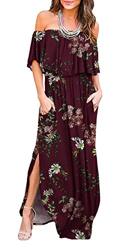 LILBETTER Women Floral Print Off Shoulder Maxi Dresses (F Wine Red, Large)