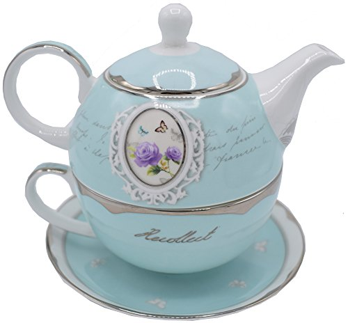 TEEKANNE TASSE und UNTERTELLER für eine Person - Tea for One / Vintage / Landhausstil / Shabby / Hochwertiges Porzellan / Türkis