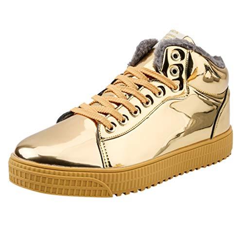DAIFINEY Herren Modetrend Sneaker Warm Gefütterte Pailletten Halbhoch schnürer Glitzer Freizeitschuhe Winterstiefel Winterschuhe Stiefel Side Street-Awesome Sauce Sneaker(Gold/Gold,40)