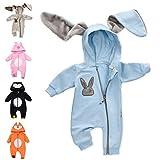 Baby Sweets Baby Tier-Strampler Unisex Hellblau im Motiv: Hase/Baby-Overall als Tierstrampler mit Kapuze für Neugeborene & Kleinkinder in der Größe Newborn (56)