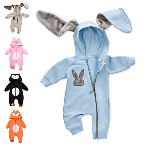 Baby Sweets Baby Tier-Strampler Unisex Hellblau im Motiv: Hase/Baby-Overall als Tierstrampler mit Kapuze für Neugeborene & Kleinkinder in der Größe 0-3 Monate (62)