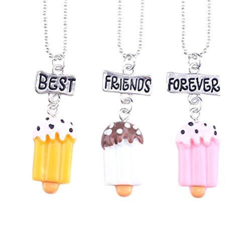 Holibanna 3 collares de la amistad con diseño de helado, mejores amigos para siempre, colgante de resina para niños, regalo de amistad para niñas, amigos, niños