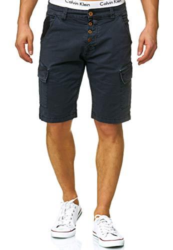 Indicode Herren Hedworth Chino Cargo Shorts mit 7 Taschen aus 98% Baumwolle | Kurze Stretch Hose Regular Fit Bermuda Herrenshorts Men Short Pants Chinohose Cargohose für Männer Navy XXL