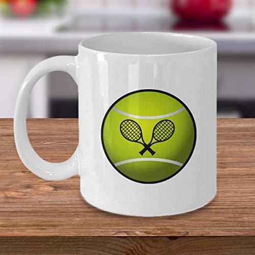 Taza de café con raquetas de tenis, regalo para amantes del deporte, tenis, deportes, deportes, regalos para entrenador, jugador, tenis, niño, niña, 15 onzas