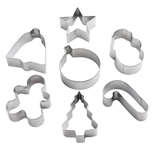 eBuyGB festivo Natale Cookie Cutter selezione - 7 disegni misti in un contenitore chiaro (acciaio inox)