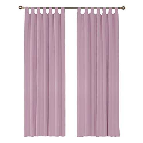 Amazon Brand – Umi Cortinas Modernas Aislamiento Termico de Salon para Ventanas Dormitorio Moderno con Trabillas 2 Piezas 140 x 245 cm Rosa Claro