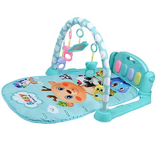 Eternitry Alfombra de juego para bebé, juguete de actividad física con 5 juguetes colgantes, Kick Play Piano Gym Mat, adecuado para bebés de 3 a 6 a 12 meses