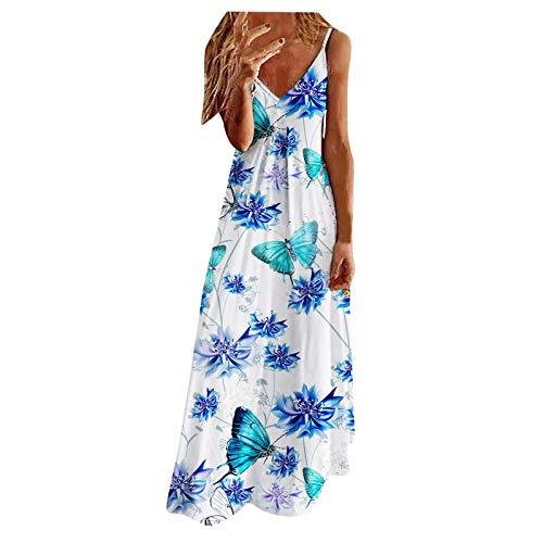 Qigxihkh Lässige sommerliche sexy Schmetterlingsdruck der Damen Buntes ärmelloses Trägerkleid(5-Blau, S)