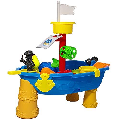 Top Race 24-teiliger Piraten-Sand- und Wassertisch im Freien-Schiffsdesign, Spritzendes Sommerspaßspielzeug, inklusive Zubehör; Schaufeln, Boote & Spaten usw. Für Kinder ab 3 Jahren