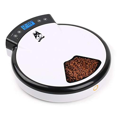 TDYNASTY DESIGN Automatic Pet Feeder Cat Feeder for Dogs & Cats | Dry Food - 5 Meals, 5 x 240ml