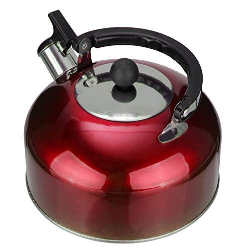 PIXNOR Tetera Silbadora de Acero Inoxidable con Asa Tetera de Acero Inoxidable Tetera Silbadora para Cocina Casera Roja