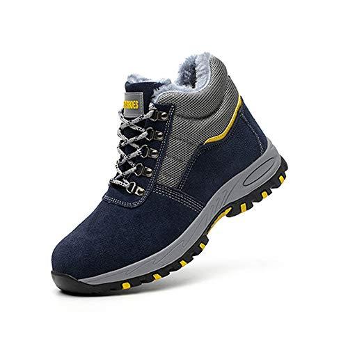 WYBFBYQ Arbeitsschutz Schuhe für Mode,atmungsaktiv Warm Anti-Smash Anti-Thorn Antistatisch Hohe,Industriebau Männer und Frauen Arbeiten Sicherheitsschuhe,Cotton,40
