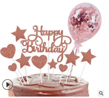 Mousyee Decoracion Tarta Cumpleaños, Topper Tarta Adornos para Tartas de Papel Decoración para Cupcakes con Globo Decoraciones para Tartas de Oro Rosa para Cumpleaños Aniversario Decoración para Tarta