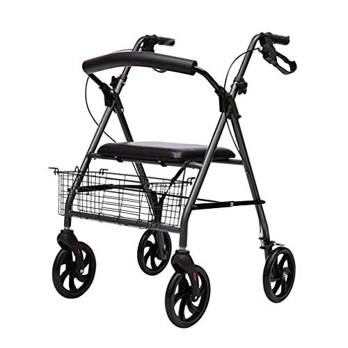 Ayudas de movilidad con ruedas plegables, andador, andador con andador bariátrico de servicio pesado, andador para ancianos plegable de 4 ruedas con asiento, frenos bloqueables, reposabrazos ajustable