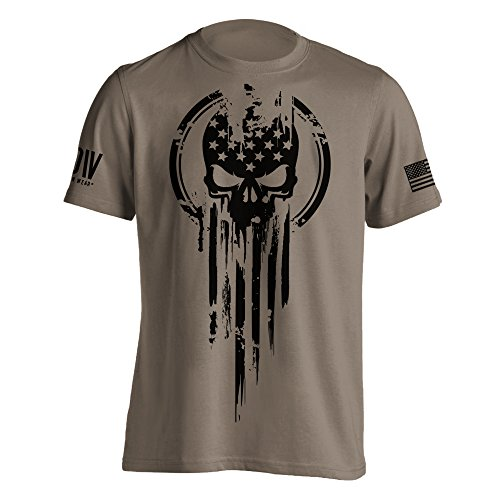 American Warrior Flag Skull Military T-Shirt X-Large Brown Savana