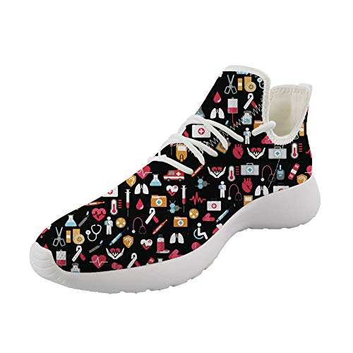 Upetstory Medical Theme Casual Running Knit Sneakers Best for Doctor Nurse Gift Slip On Walking Tennis Shoes Breathable Black US 7.5