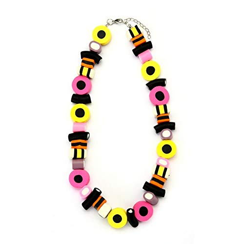 JOE COOL Bead String Necklace Liquorice Allsorts with Extension Made with Resin