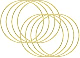 Outuxed 8pcs 14inch Metal Crafts Hoops Macrame Creations Ring for DIY Crafts Dream Catchers, Gold