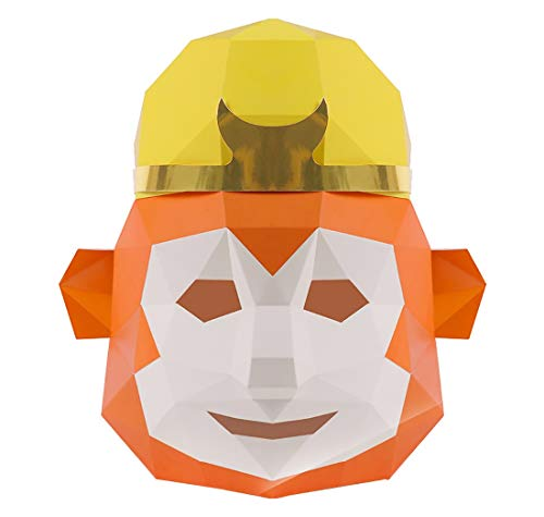 FengHe Mask Creative Qitian Dasheng Sun Wukong Mask DIY Origami Paper Die Set Funny COS Halloween Full Face Mask Party Masquerade Head Cover Size: 303030cm