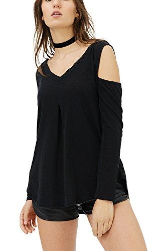 trueprodigy Casual Damen Marken Long Sleeve einfarbig Basic Oberteil Cool Stylisch V-Ausschnitt Langarm Slim Fit Langarmshirt für Frauen, Größe:XS, Farben:Schwarz