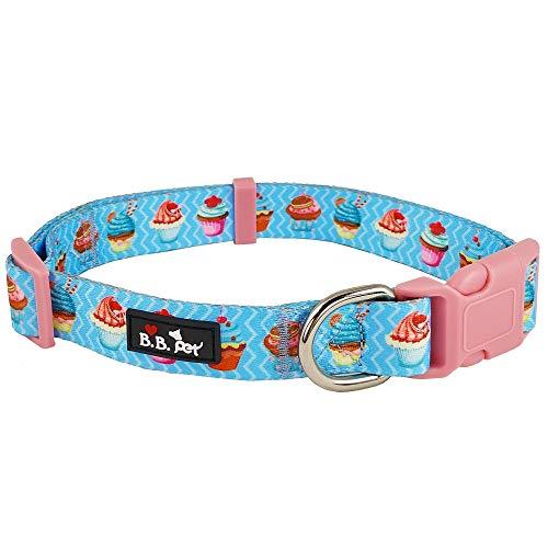 Bestbuddy BBP011 Hundehalsband, Bunte Cupcakes, Blau, strapazierfähiges Nylon, modisch, bequem, verstellbar, mit Schnalle, merhfarbig, 11