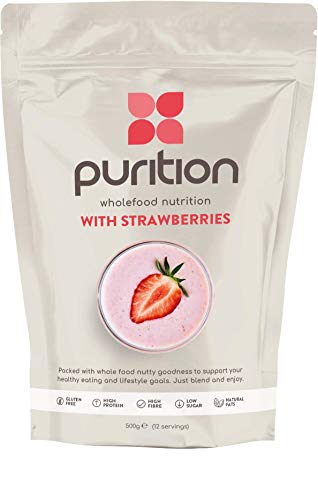 Purition Strawberry Natural Protein Powder for Keto Diet Shakes and Meal Replacements Shakes with Only Natural Ingredients, 1 Bag (12 Servings)