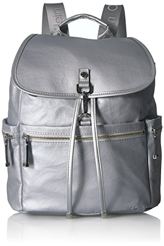 Calvin Klein womens Calvin Klein Lianna Nylon Flap Over Backpack, silver, One Size