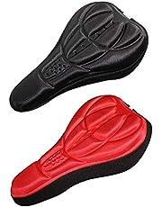 3D Stereo Fietszadelhoes, 2 Delige Fietssponszadelhoes, Fietskussenhoes, Fietszadelhoes voor Heupbescherming, Lange Afstandsrijden, Mountainbike Schokbestendig (Rood en Zwart)