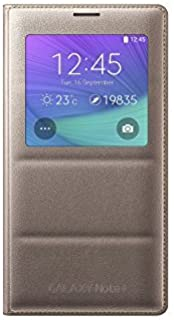 Samsung Galaxy Note 4 Case, S-View Flip Cover Folio Case - Bronze Gold (Bulk Packaging)
