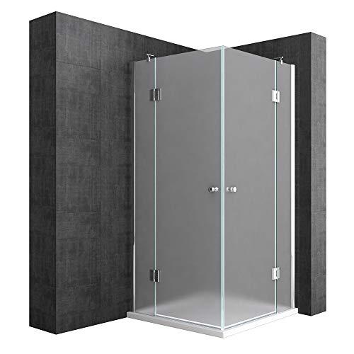 Mai & Mai Cabina de ducha esquinera Rav01S 100x100x190cm ducha de vidrio de seguridad satinado | Con plato de ducha plano de 4 cm