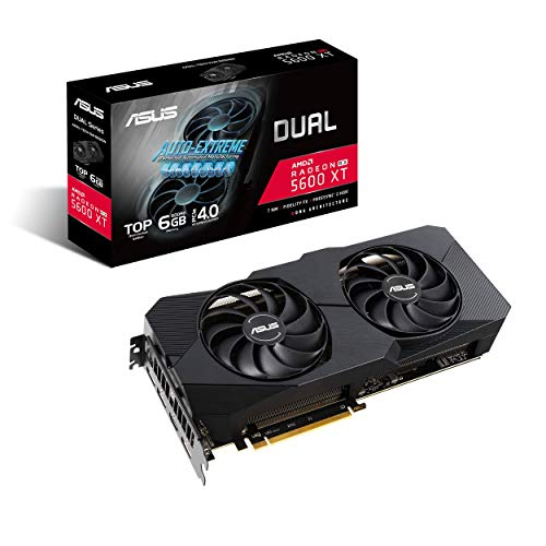 ASUS Dual AMD Radeon RX 5600 XT EVO Top Edition Gaming Graphics Card (PCIe 4.0, 6GB GDDR6 memory, HDMI, DisplayPort, 1081p Gaming, Axial-tech Fan Design, Auto-Extreme, metal backplate) (DUAL-RX5600XT-