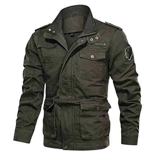 Azruma Herren Jacke Fliegerjacke Übergangsjacke Bomberjacke Militär Piloten Jacket für Winter Herbst Frühling Große Größen M-5XL