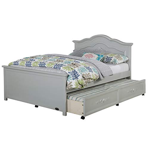 Evolur Aurora Full Size Bed I Full Panel Headboard I Headboard  & Footboard I Bed Slates Included, Sliver Grey Peal